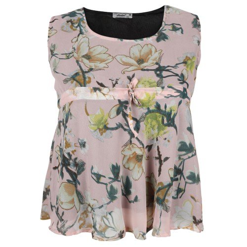 Round Neck Mixed Print Pattern Color Chiffon Top