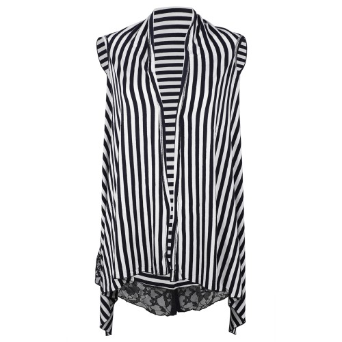 Striped Front Open Black and White Sleeveless Shrug