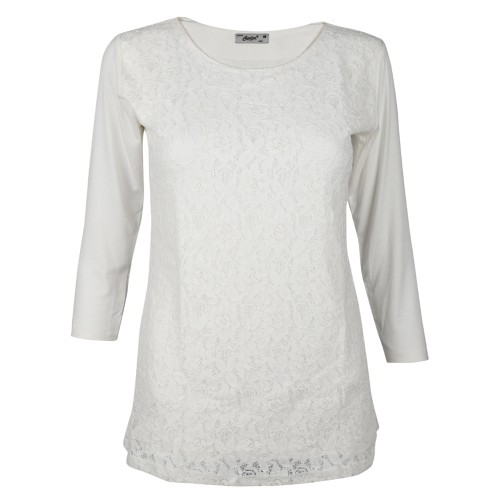 Round Neck Lace Pattern Cotton Top