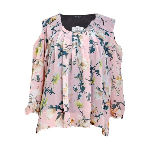 Round Neck Printed Cut Sleeve Chiffon Top