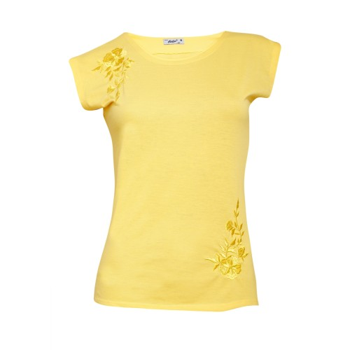 Round Neck Floral Pattern Cotton Sinker Top