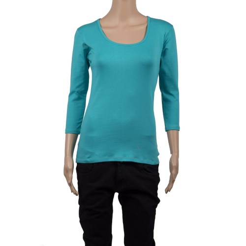 Round Neck Basic 3/4 Sleeve Top