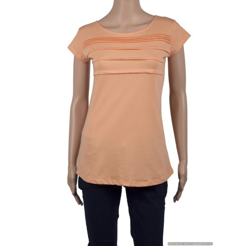 Boat Neck Front Pleated Chest Top