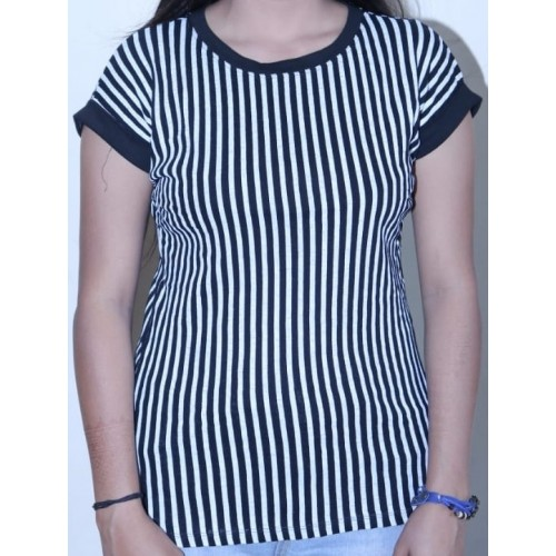 Round Neck Vertical Stripes Casual Top